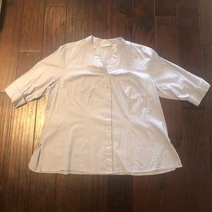 VINTAGE 3X Plus Size White/Blue Striped Button-Up